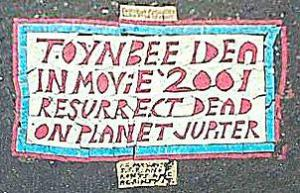 nd this is the last decent picture of a toynbee tile, there are others out there but either they were so old they were nearly obliterated which considering the odd places they are placed particularly those on roads it is to be exppected, or there are newer ones but those i couldn't be sure they were part of the original mystery as they seemed a little different and i suspected either copycat hoax or someone just trying t keep the whole thing going i stayed with only those of the original mystery